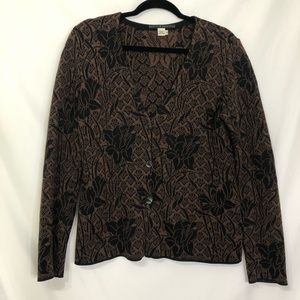 Peruvian Connection Brown Knit Button Cardigan M
